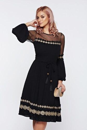 Fekete StarShinerS alkalmi hímzett ruha övvel ellátva - Glami.hu 8e648c47df