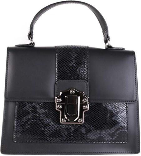 Talianske kožené kabelky luxusné stredné do ruky čierne Amanda ... 121af09f8c5