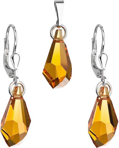 EVOLUTION GROUP Sada šperkov s krištáľmi Swarovski náušnice a prívesok žltá  kvapka 79003.3 45ef2975023