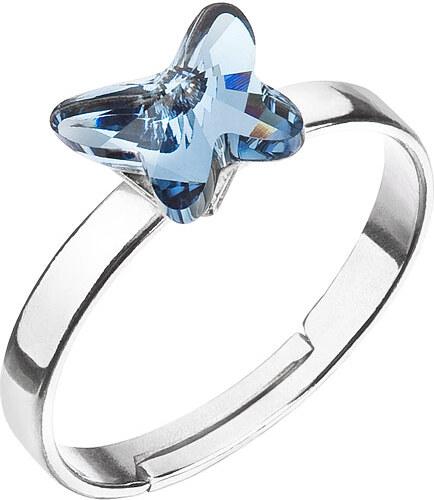 EVOLUTION GROUP Strieborný prsteň s krištáľmi Swarovski modrý motýľ 35057.3 f70dff1f0c0