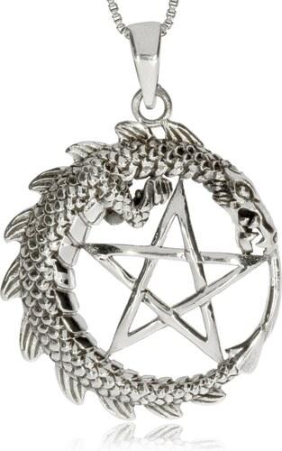 SilverRepublic Stříbrný přívěsek - Pentagram v kruhu s drakem - Glami.cz b1acbe66254
