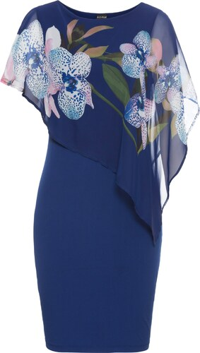 Kleid mit chiffon uberwurf blau