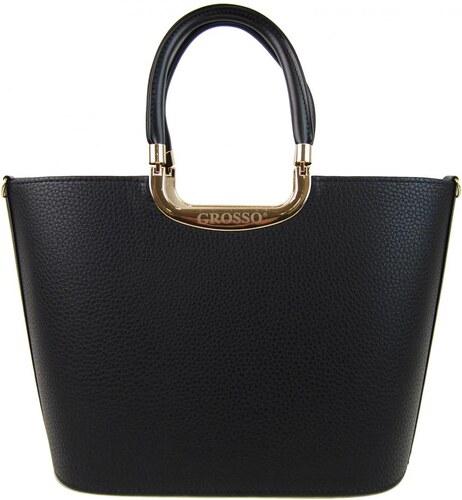 Luxusná čierna matná kabelka do ruky so zlatými doplnkami S7 GROSSO ... 8e2109a7e7b