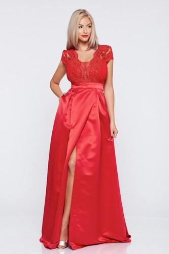 Piros hosszú alkalmi a-vonalú rövid ujjú StarShinerS ruha - Glami.hu 2d50b1bec5