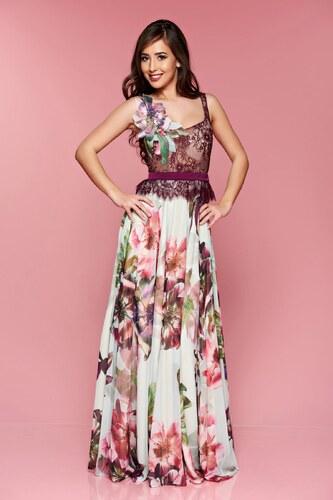 Lila StarShinerS virágmintás alkalmi ruha hosszú csipkés anyagból ... 1747d6fa99