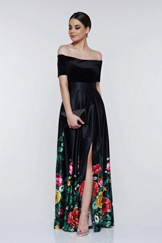 StarShinerS Fekete Artista virágmintás alkalmi ruha - Glami.hu 27e285f144