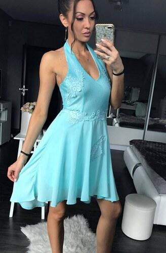 EMAMODA Dámské společenské šaty se zavazováním za krk krátké modré ... 5733e056ae