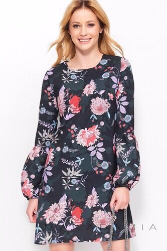 Makadamia Čierne kvetované šaty M405 - Glami.sk a407af8f3a1