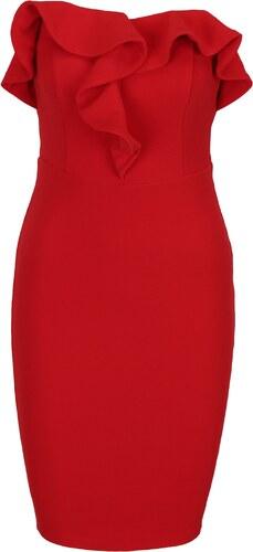 fa1013dfafcc Červené puzdrové šaty s volánom a odhalenými ramenami AX Paris ...