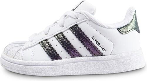 adidas Baskets Streetwear Superstar Bébé Blanche Et Vert Chromé Bébé