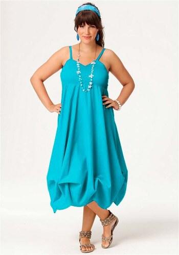 Delší letní šaty na ramínka Amy Jones (vel.56 skladem) 56 tyrkysová  Dopravné zdarma! b73fc3d579