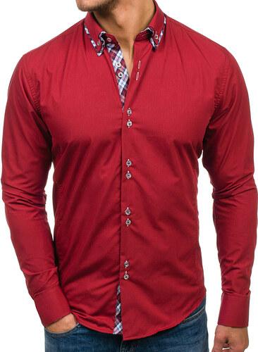 1acbf4dc680e Bordová pánska elegantná košeľa s dlhými rukávmi BOLF 4704 - Glami.sk