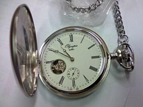 Luxusní stříbrné mechanické kapesní hodinky Olympia 35036 - Glami.cz d6ebb9f26a
