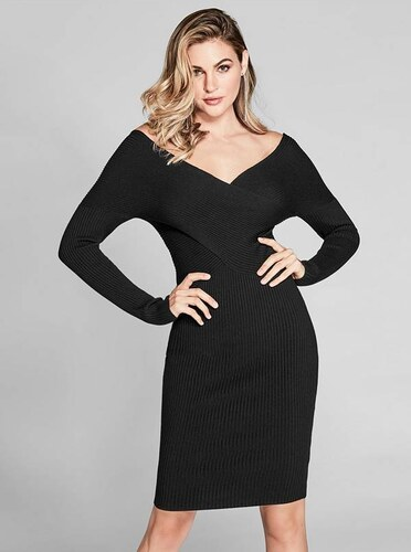 Šaty Guess by Marciano Shamay Off-the-Shoulder Sweater Dress černé ... bb15ff96f5e