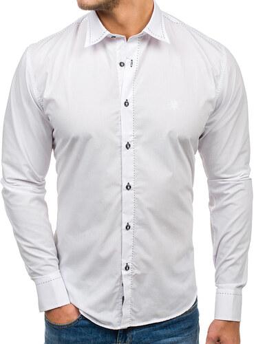4ff552ff58d6 Biela pánska elegantná košeľa s dlhými rukávmi BOLF 4719 - Glami.sk
