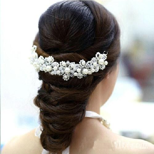 ede330c6fe9 B-TOP Svatební ozdoba do vlasů S PERLAMI A KRYSTALY - bílá stříbrná ...
