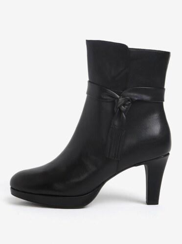 Čierne kožené členkové topánky na podpätku Tamaris - Glami.sk 41b52b63309