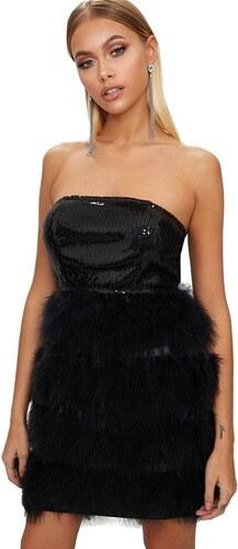 PRETTYLITTLETHING Čierne bandeau mini šaty s pierkami - Glami.sk e38b4fd0888