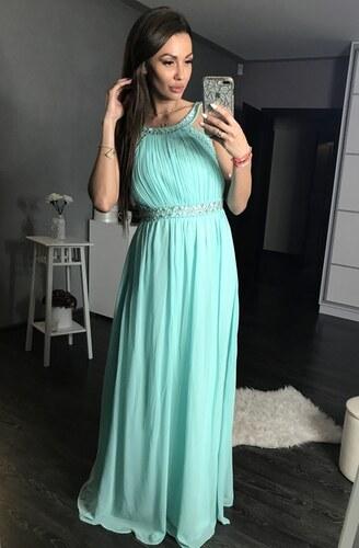 Dámské společenské plesové šaty dlouhé s kamínky EVA   LOLA zelené ... 73c5ceb901