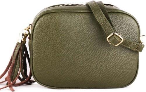 ITALSKÉ Luxusní moderné kožené kabelky crossbody Kasandra zelené ... 12c352325ea