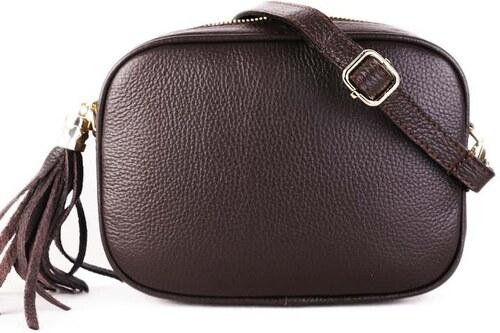 ITALSKÉ Luxusní malé dámské kožené kabelky Kasandra čokoládové ... 6ce86b604bb