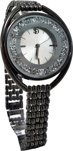 5ea5c7bc882 SD Dámské hodinky s kamínky S.D černé 438D - Glami.cz