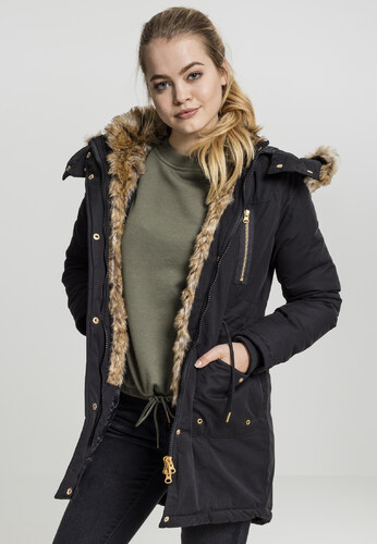 Urban CLASSICS Dámska zimná bunda s kožušinou Ladies Imitation Fur Parka  čierna 5904137e699