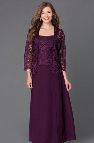 Dlouhé fialové společenské šaty s krajkovým kabátkem - Glami.cz 1dd9692f44