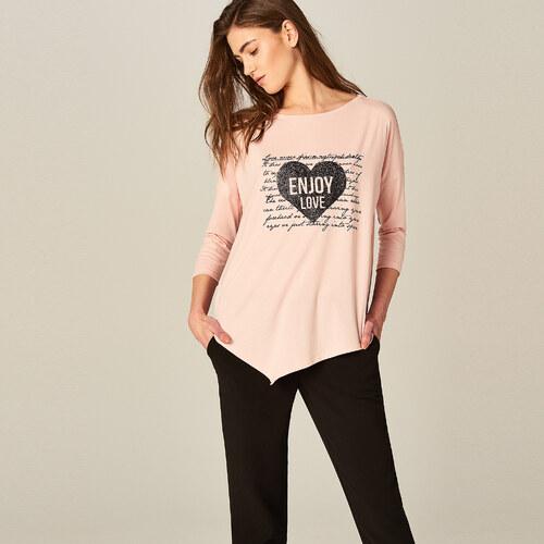 6b04a2efc263 Mohito - Asymetrické tričko s metalickou potlačou - Ružová - Glami.sk