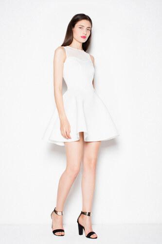 Venaton Krátke čierne mini šaty s áčkovou sukňou biele - Glami.sk b3f70a57756