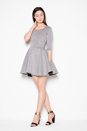 Venaton Mini šaty s áčkovou skladanou sukňou a trojštvrťovým rukávom sivé 85cb4b4d37f