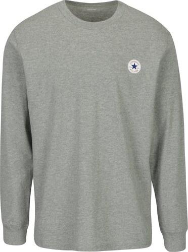7f6d299bb76 Šedé pánské žíhané tričko s dlouhým rukávem Converse Tee Cuff - Glami.cz