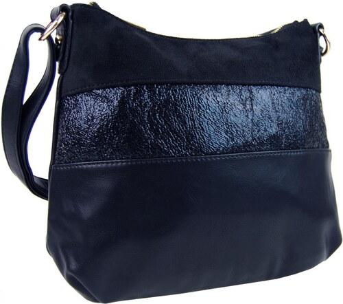 BELLA BELLY Elegantná modrá menšia crossbody kabelka so zlatými doplnkami  2765-BB 9d0906e0a7b