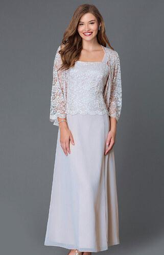 480394cc7ca7 Glamor Dlhé sivé spoločenské šaty s čipkovaným kabátikom - Glami.sk