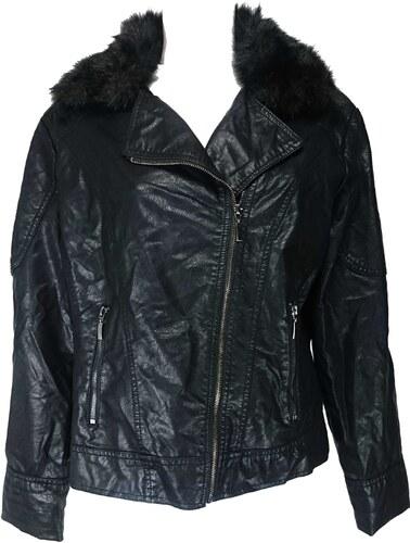 F F dámská černá kožená bunda - Glami.cz 380182b5e81