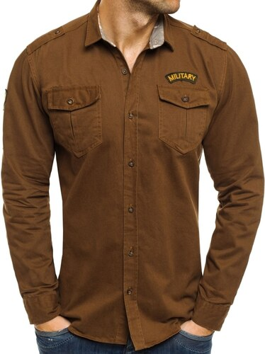 Riflová košile karamelové barvy NORTH 2504 - Glami.cz 8cfdb2dc43