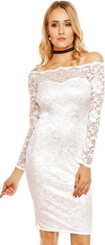 Dámské společenské šaty MAYAADI krajkové s dlouhým rukávem krátké bílé 79f00f32b5