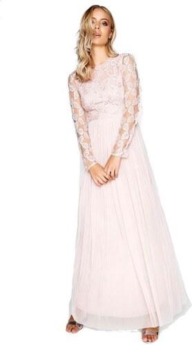193f2c0cfbe3 LITTLE MISTRESS Růžové společenské maxi šaty s krajkovou aplikací v topu