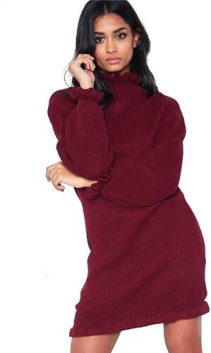 MISSY EMPIRE Vínové pletené mini šaty Chyna - Glami.sk d93a3a2749