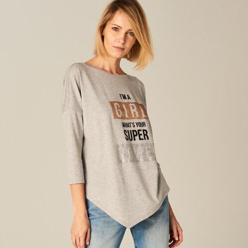 a4f142e25aaa Mohito - Asymetrické tričko s metalickou potlačou - Svetlošedá ...