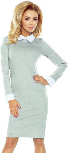 59d9a60eb26c numoco 143-4 Svetlo šedé šaty s bielym golierom a manžetami - Glami.sk