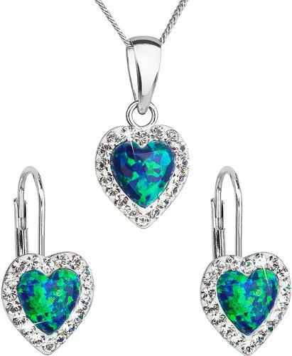 cbd07cd6f EVOLUTION GROUP Sada šperků se syntetickým opálem a krystaly Swarovski  náušnice a přívěšek zelené srdce 39161.1