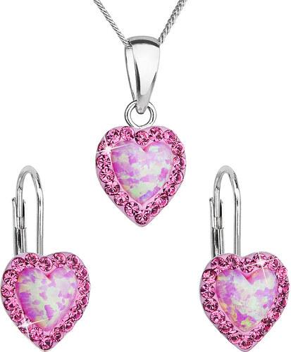 e57d64e3d EVOLUTION GROUP Sada šperků se syntetickým opálem a krystaly Swarovski  náušnice a přívěšek růžové srdce 39161.3