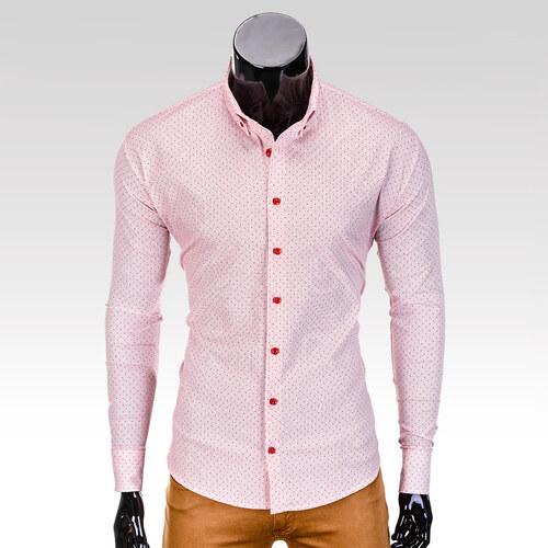 Ombre Clothing Pánská košile s dlouhým rukávem Dawson světle-červená ... 11759380f1