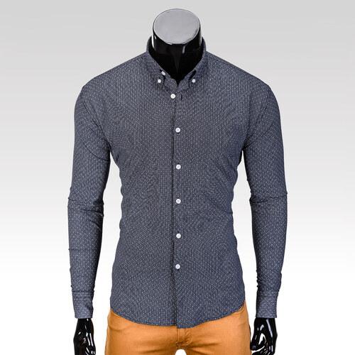 Ombre Clothing Pánská košile s dlouhým rukávem Dawson tmavě-šedá ... c3a628ee4e