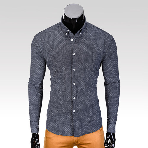 Ombre Clothing Pánská košile s dlouhým rukávem Dawson tmavě-šedá ... 7aeec4141e