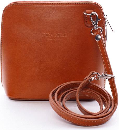 Italy Tašky přes rameno Dámská kožená crossbody kabelka světle hnědá - Hannah  Italy 505259d2336