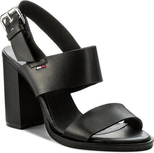 Sandalen TOMMY JEANS - Cool Leather Heeled Sandal EN0EN00215 Black 990 uFWyClE1