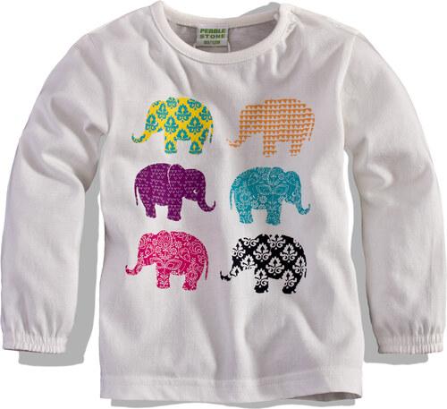 efcc9b480970 TEIDEM Dievčenské tričko s dlhým rukávom PEBBLESTONE slony biele ...