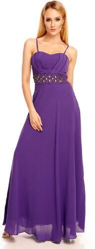 dc2d49847541 EMMA DORE PARIS Dámské společenské šaty s korálky v pase dlouhé fialové